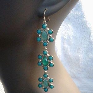 Designer Jewelry - Turquoise colored drop dangle hook earrings